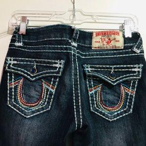 True Religion Dark Wash with Rainbow Stitching